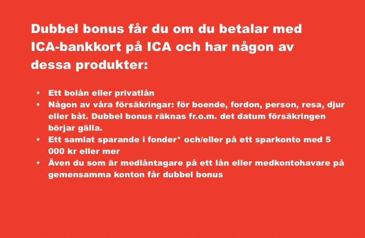 Så får du dubbel bonus på ICA kreditkort.