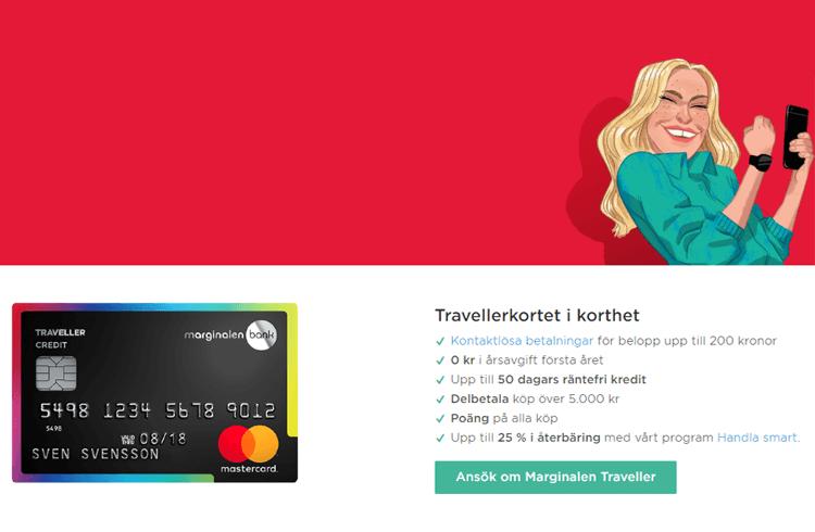 Fördelar med Marginalen Traveller Kreditkort