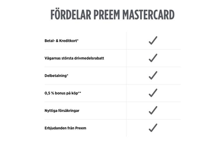 Fördelar med Preem Mastercard