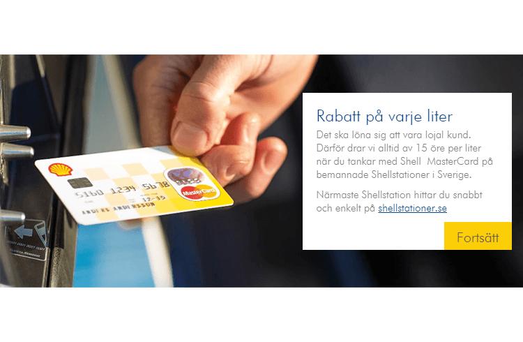 Rabatt på varje liter med Shell Mastercard