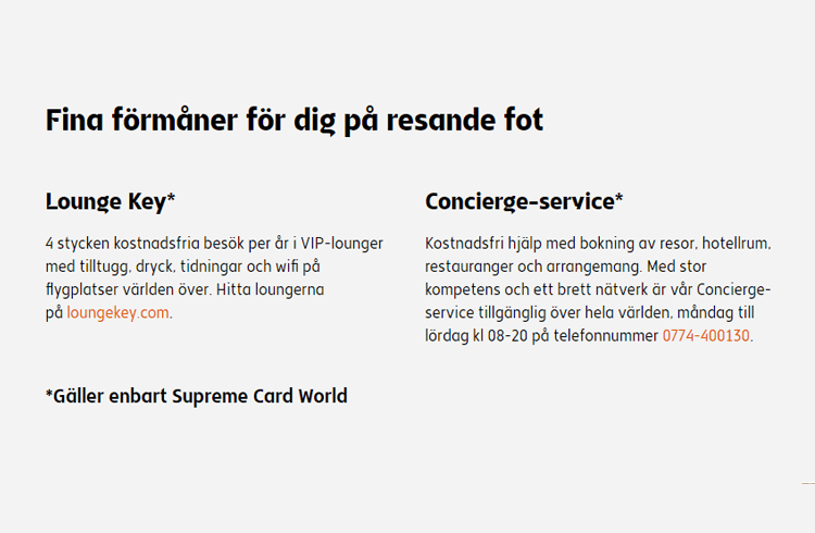 Resefördelar med Supreme Card World