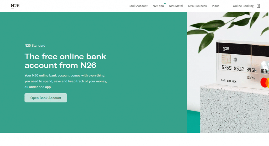 N26 konto med kostnadsfritt Mastercard